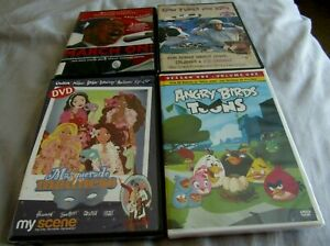 LOT-OF-4-CHILDREN-039-s-DVD-039-s-COW-TUNES-FOR-KIDS-ANGRY-BIRDS-TOONS-MARCH-ON-BARBIE