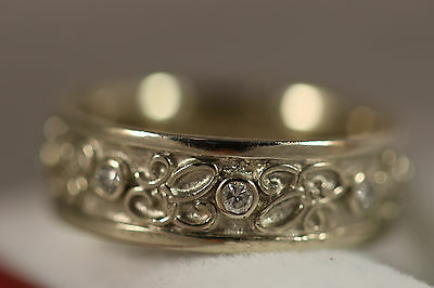 HEAVY WIDE 14K WHITE GOLD .25CT DIAMOND SCROLL ETERNITY BAND RING 14KT 8.75 6.9G