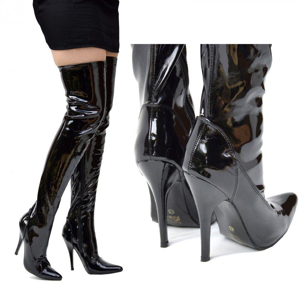 Damenschuhe Sexy Over Knee High Heel Stiletto Thigh High Zip Stiefel LARGE SIZES 9-12