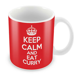 Coffee Cup Gift Idea present KEEP CALM and Eat Curry