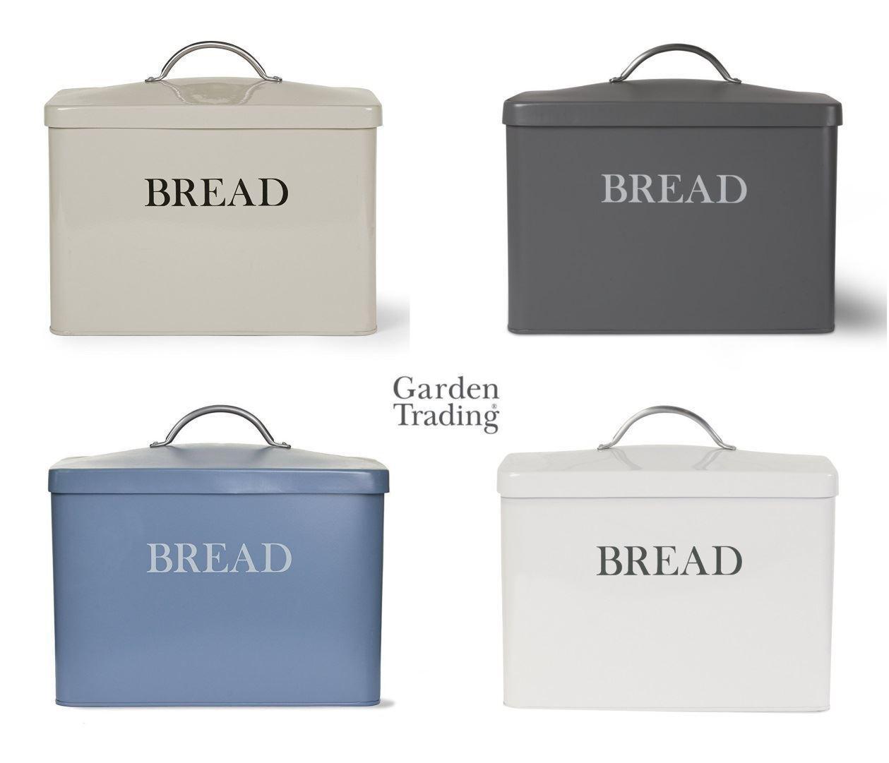 Garden Trading Retro Steel Large Bread Bin Storage Box bluee, Clay, Grey or Chalk