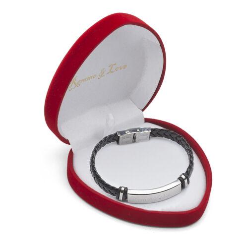 ID Leder Armband in Herz Box Geschenk Etui Hochzeitstag Jahrestag Hochzeit Liebe
