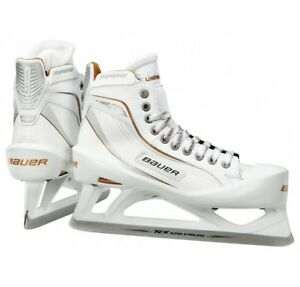 aa03fc9b789 New Bauer One100LE Ice Hockey Goalie skates size 6.5D Senior white ...
