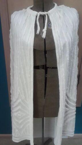CHENILLE Vtg 40s 50s White Cotton Cape Summer Beac