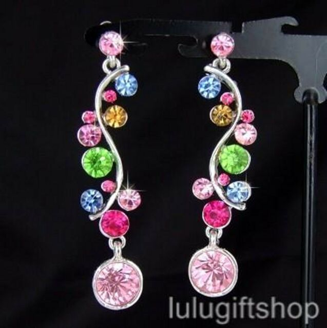 WHITE GOLD PLATED COLOURFUL DANGLE CHANDELIER EARRINGS USE SWAROVSKI CRYSTALS