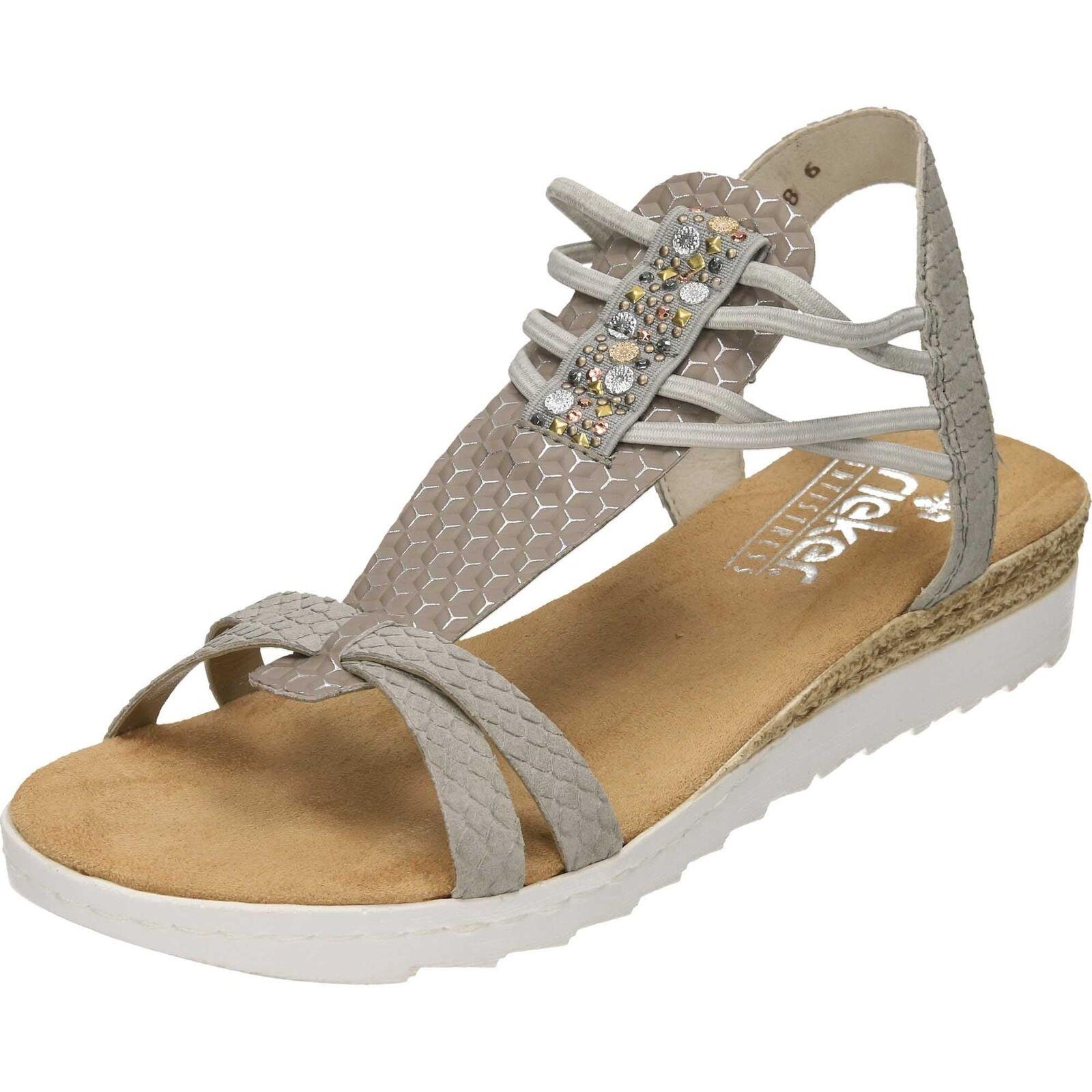 Rieker Charol Sandalias De Cuña de 63029-42 Elástico Zapatos Planos Verano Puntera abierta