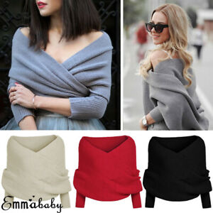 Womens-Off-the-Shoulder-Chunky-Knit-Jumper-Ladies-Oversized-Baggy-Sweater-Tops