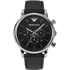 EMPORIO-ARMANI-Classic-Chronograph-Black-Dial-Black-Leather-Men-039-s-Watch-AR1828