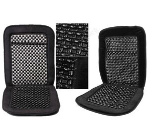 2-x-Black-Wooden-Bead-Beaded-Pair-Massage-Massaging-Car-Taxi-Seat-Cover-Cushion