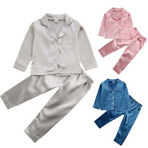 Toddler Baby Boys Girls Silk Satin Pajamas Suit Long Sleeve Nightwear Sleepwear