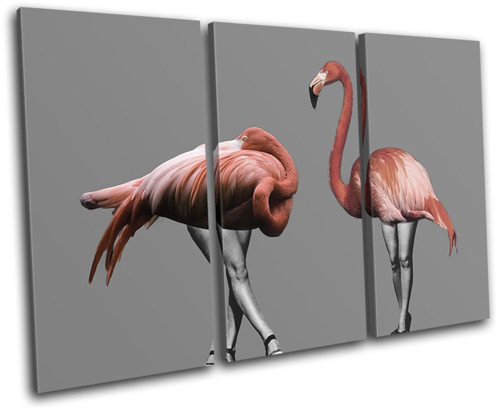 Flamingo Humor Human Legs Animals TREBLE Leinwand Wand Kunst Bild drucken