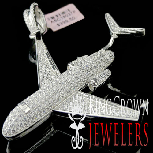 Mens Lab Diamond Airplane Pendant White Gold Over Sterling Silver Pave Charm