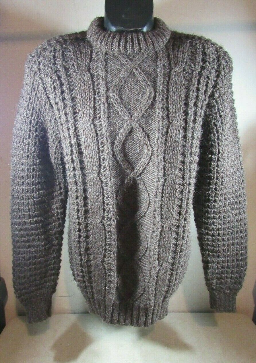 Vintage Brown Orvis Pullover Cable Knit Wool Fisherman Sweater NWT Ireland Large