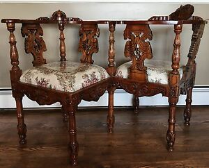Image Is Loading Antique Victorian Era Hand Carved Wooden Tete A