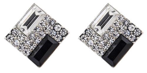 Plata Clip en Pendientes Con Cristales /& una piedra negra-Becky B por Bello London