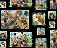 Elizabeth's Studio Zoo Selfies Animals Photos 100% Cotton Fabric By The Yard
