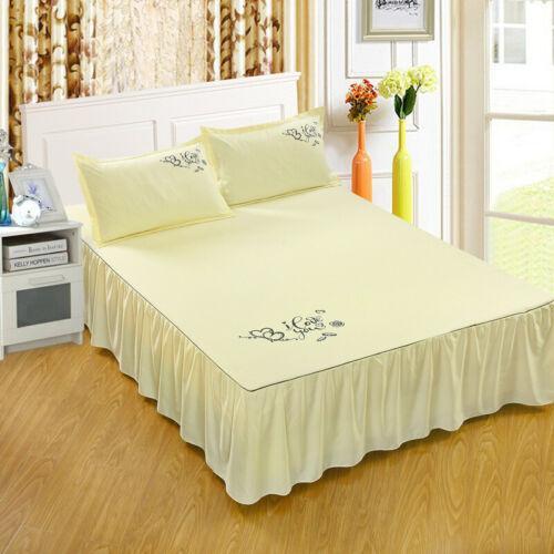 "45cm//18/"" Drop Dust Ruffle Bed Skirt Fitted Sheet Bedspread Drop Full Queen King"