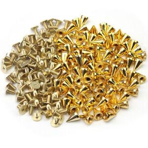 100x-10mm-Gold-Metal-Bullet-Studs-Cone-Punk-Spikes-Spots-Rivet-Leathercraft-DIY