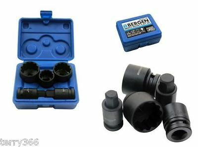 VW AUDI 5pc HUB-NUT SOCKET /BIT SET 24 30 32mm 12pt Sockets 14mm17mm Hex Bits