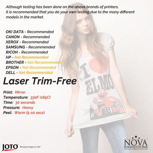 "Light fabric Laser Iron-On TRIM FREE Heat Transfer Paper 8.5/"" x 11/"" 25 Sheets"