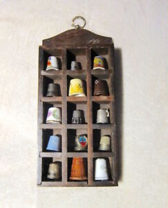 THIMBLES! Estate vtg 15 ceram/silver THIMBLES in nice old WOOD SHADOW BOX