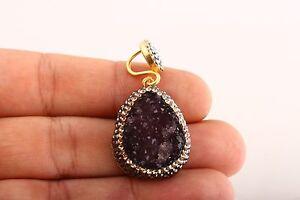 Exquisite-Turkish-Handmade-Jewelry-Purple-Druzy-925-Sterling-Silver-Pendant