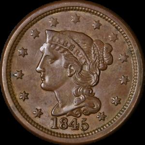 1845 Large Cent Choice BU Superb Eye Appeal Nice Luster Nice Strike