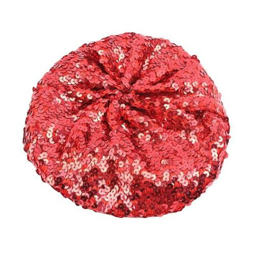 Ladies Magical Color Stage Performance Cap Glitter Hat Women Sequin Beret Hat W