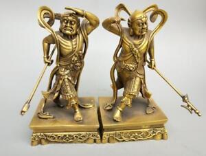 China-039-s-Seiko-carving-pure-brass-Two-God-Buddha-statue