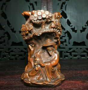 Collect noble natural Boxwood carved old man under pine trees statue Brush Pot