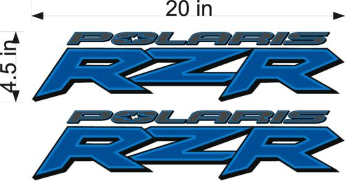 "PAIR Polaris Logo RZR 20/"" BLUE Vinyl Vehicle ATV Graphic Sticker Decals"