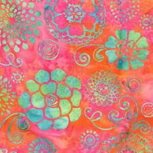 Hoffman-Batik-Bali-Chop-Graphic-Floral-K2477-491-Taffy-Cotton-Batik-Fabric-BTY