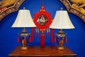 PAIR-OF-29-034-EGYPTIAN-CAT-LAMPS-BLUE-amp-GOLD-PORCELAIN-VASES-ASIAN-CERAMIC