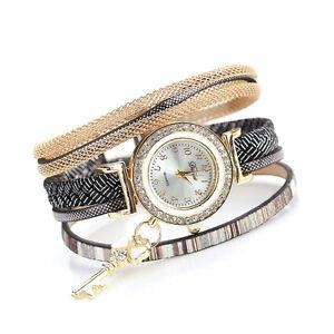 Women-Leather-Rhinestones-Braided-Key-Chain-Sling-Bracelet-Quartz-Wrist-Watch