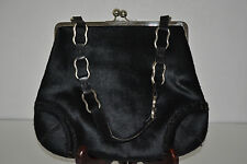 BURBERRY BLACK CALF HAIR FUR HAND BAG WITH SILVER HARDWARE
