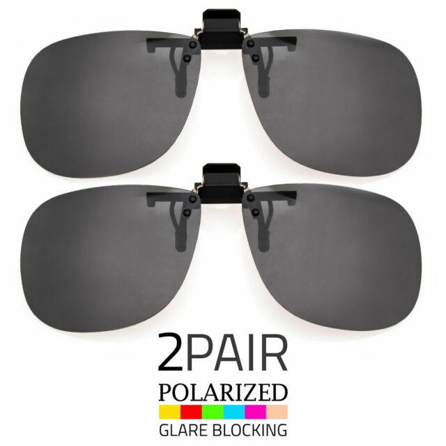 97bc3a571d 2Pcs Large Polarized Lens Glare Block Clip On Flip Up Sunglasses Glasses  Driving