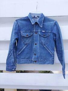 Wrangler-Jean-Jacket-Woman-Size-Small-Blue-Rainbow-Vintage-RBY-Logo
