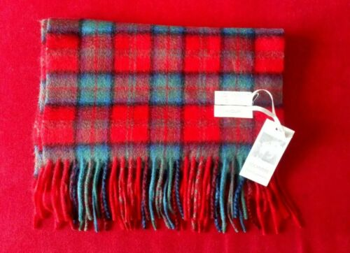 Lochmere 100/% Cashmere Scarf Red Blue Mens Womans Macduff Tartan Check