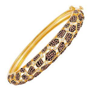 "Giraffe Bracelet w/ Brown & White Crystals in Gold-Plated Bronze, 7.5"""