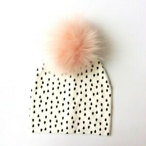 Darling Cream Polka Dot Beanie with Fur Poof--Baby