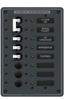 Blue Sea 8059 Power Distribution Panel 120V AC 8 Pos Marine Breakers Backlit