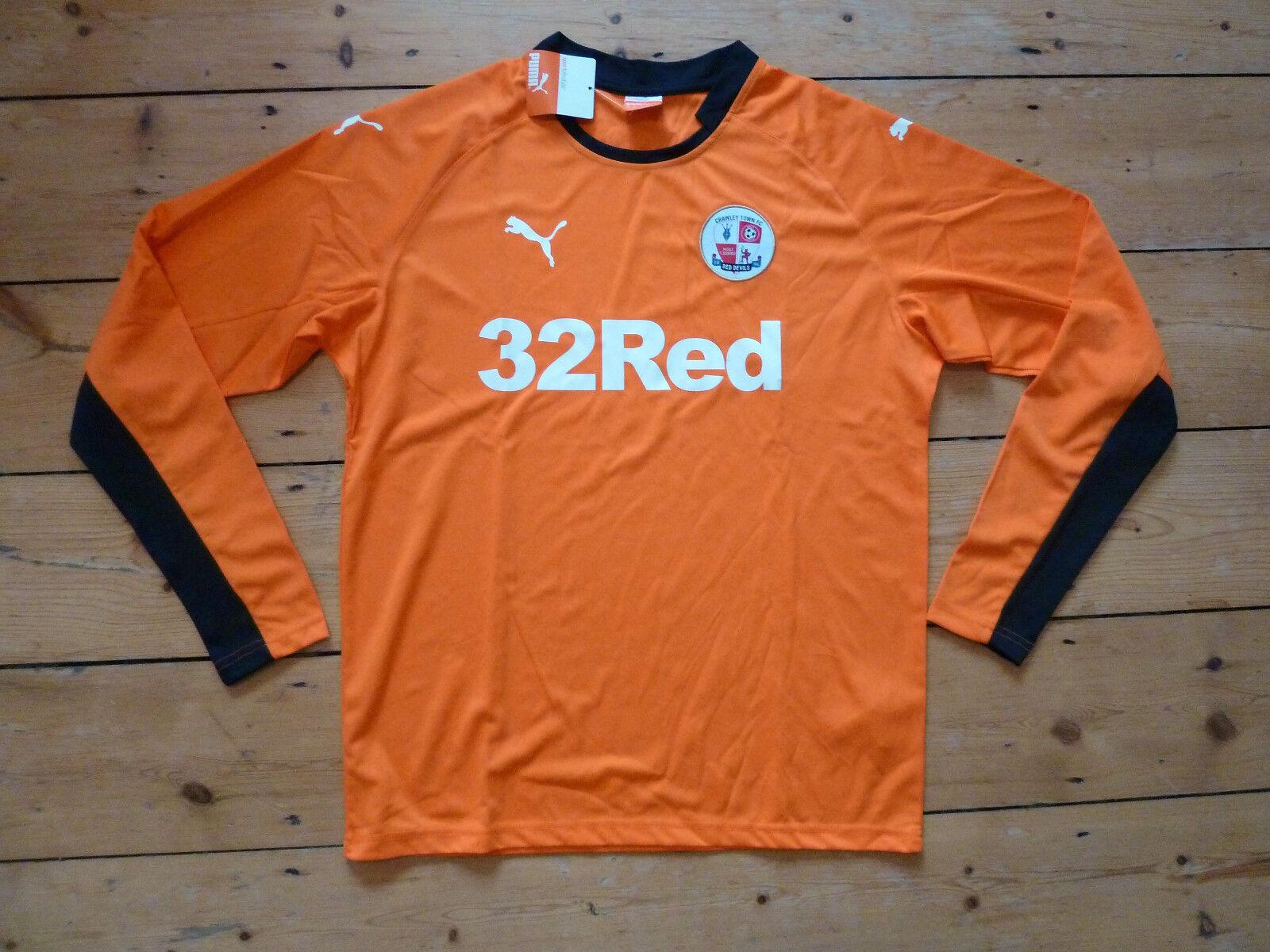 Crawley Town FC T-Shirt Calcio 2014 15 Biadesivo XL MAGLIA da L S Arancione