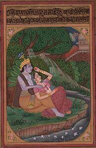 Lord-Krishna-Radha-Miniature-Painting-Handmade-Hindu-Religious-God-Goddess-Art