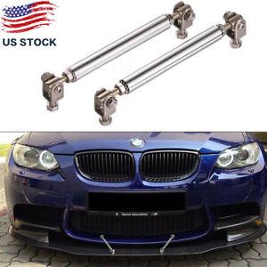 Details about Adjustable Silver Front Bumper Lip Splitter Strut Rod Tie  Support Bars Universal