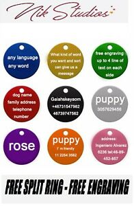 Pet-ID-Name-Tag-Tags-Laser-Engraved-Dog-Cat-Paw-Customised-Personalised-Round