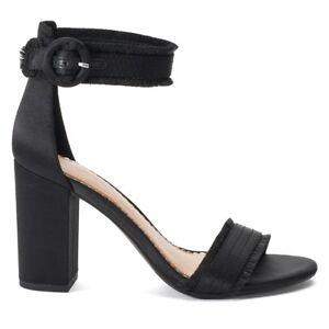 73bc4edb1ad1 LAUREN CONRAD Womens Black Fringe Satin Buckle High Heels Sandals ...