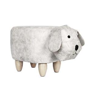 Kid's Fabric Large Dog Animal Footstool Padded Cushion Rest Bedroom Seat Pouffe