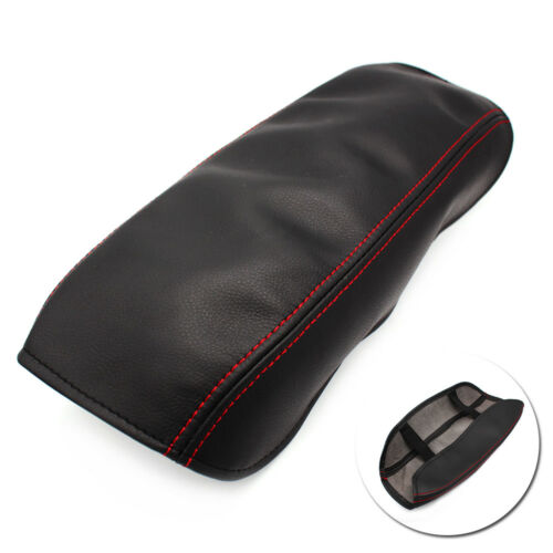 Black w//Red Leather Center Console Lid Armrest Cover for Honda Civic 8th 2006-11