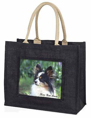 Papillon Hund' Liebe, die sie Mama' große schwarze Einkaufstasche WEIHNACHTEN Pr
