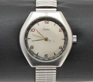 Eska-R-Railway-R21480-1970-steel-tonneau-watch-working-condition